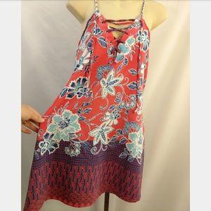 Trixxi Lace Up Sleeveless Pink Floral Dress